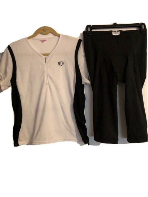 Item - Black and White Jersey Cycling Set Activewear Size 14 (L)