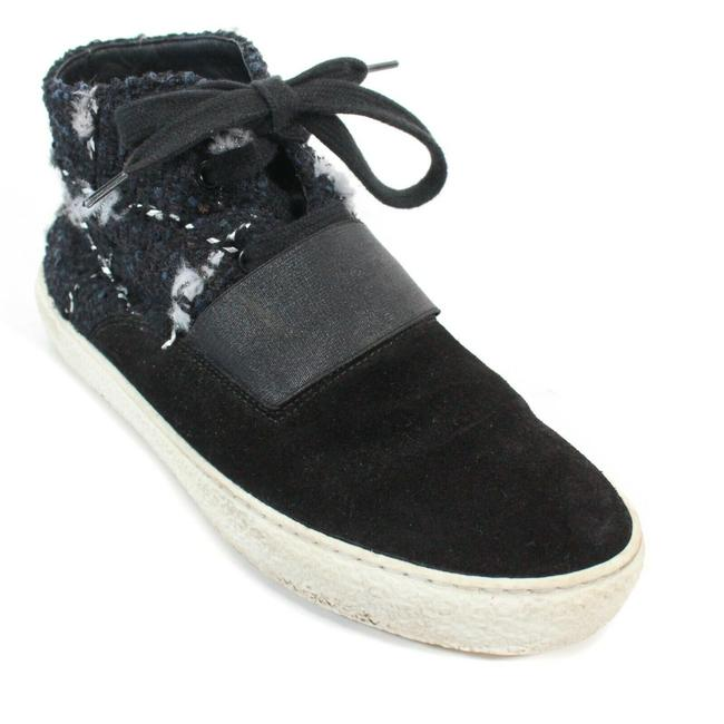 Item - Black Blue White High Top Strap Suede + Tweed 9 - 40 Sneakers Size EU 39.5 (Approx. US 9.5) Regular (M, B)