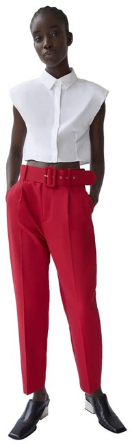 Item - Red W High-waist Trousers W/ Belt Color New Pants Size 6 (S, 28)