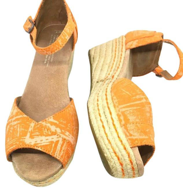TOMS Orange ~ Etched Suede Wedges ~ Platforms Size US 7 Regular (M, B) TOMS Orange ~ Etched Suede Wedges ~ Platforms Size US 7 Regular (M, B) Image 1