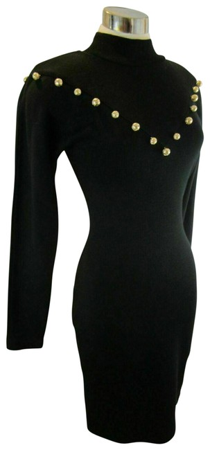Item - Black XS Wool Knitted Vintage 90's Gold Baubles Mid-length Short Casual Dress Size 2 (XS)
