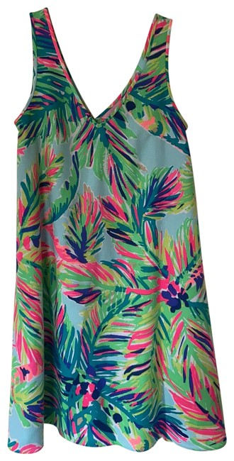 Lilly Pulitzer Pink Blue Green Rn#88189 Short Casual Dress Size 00 (XXS) Lilly Pulitzer Pink Blue Green Rn#88189 Short Casual Dress Size 00 (XXS) Image 1