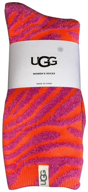 Item - Rock Rose Vibrant Coral Zebra Socks