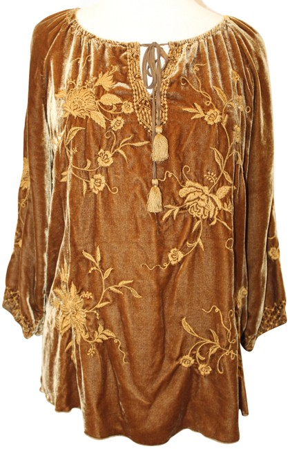Item - Rust Brown Peasant Embroidered Velvet Blouse Tunic Size 6 (S)
