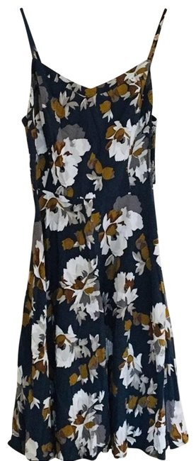 Item - Blue Floral Sleeveless Mini Gold Short Casual Dress Size 4 (S)