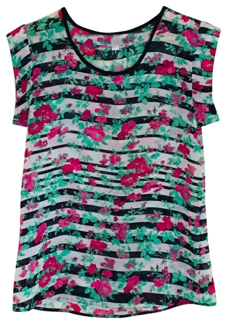 Item - Pink Striped Floral Cap Sleeve Blouse Size 4 (S)