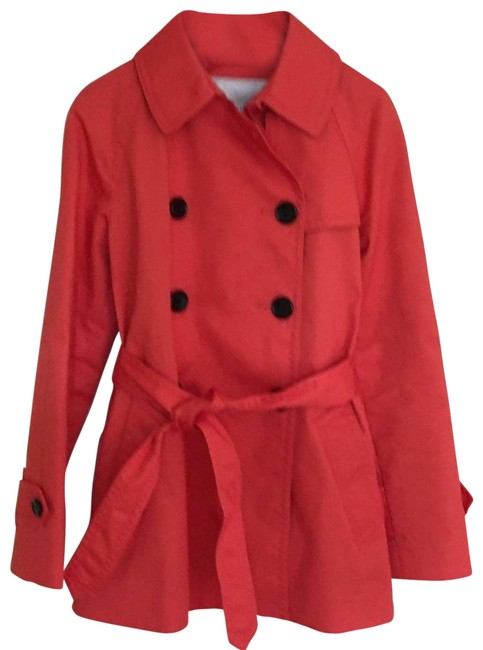 Item - Red Buttoned Belt Trench Orange Extra Small Jacket Size 0 (XS)