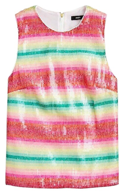 Item - Multicolor Sleeveless In Watermelon-stripe Sequins Tank Top/Cami Size 6 (S)