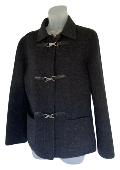 Item - Grey Wool with Silver Buckles Jacket Coat Size 4 (S)