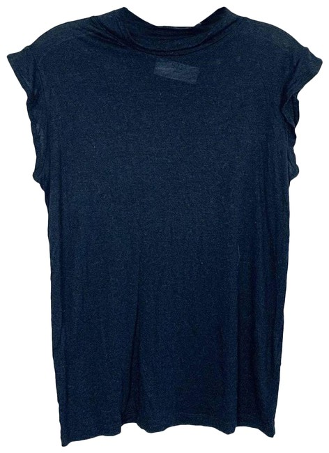 Item - Black Scalloped Sleeve Mock Neck Fitted M Tee Shirt Size 8 (M)