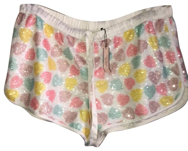 Item - White with Colored Sequin Hearts Loungewear Shorts Size 8 (M, 29, 30)
