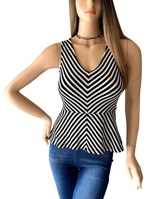 Item - Black & White Sleeve Stripe V-neck Peplum Blouse Size 4 (S)