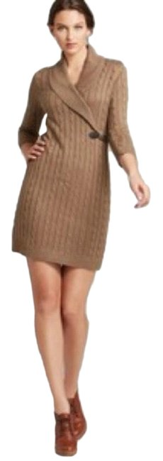 Item - Tan Brown Taupe Shawl Collar Cable Knit Mid-length Work/Office Dress Size 12 (L)