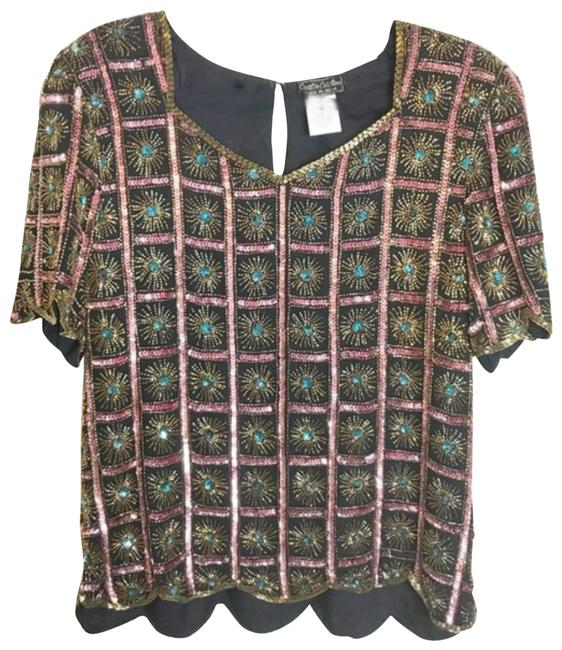 Item - Sunburst Sequin Beaded Scallop Hem Gold Medium Party Pink Top