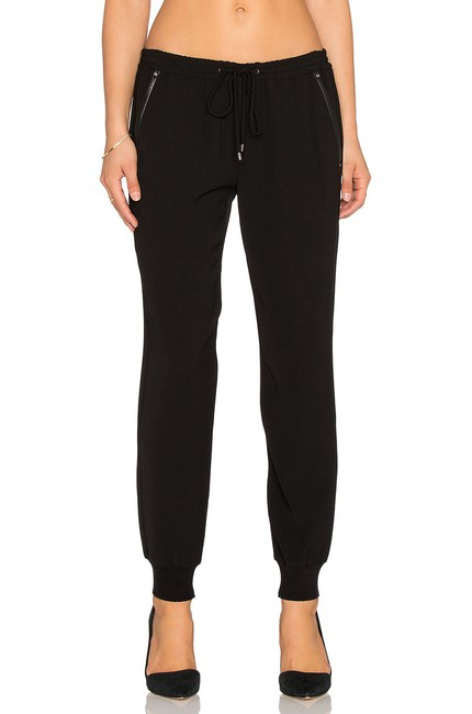 Vince Black Polyester Leather Trim On The Sides Jogger Women Pants Size 2 (XS, 26) Vince Black Polyester Leather Trim On The Sides Jogger Women Pants Size 2 (XS, 26) Image 1