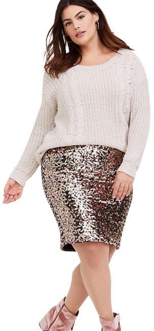 Item - Gold Champagne Sequin Mini Skirt Size 16 (XL, Plus 0x)