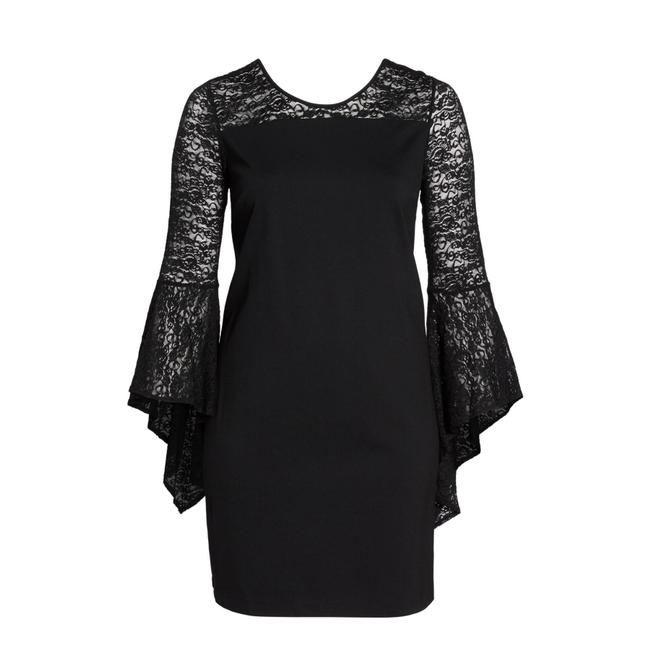 Item - Black Bell Sleeve Shift Mid-length Cocktail Dress Size 16 (XL, Plus 0x)