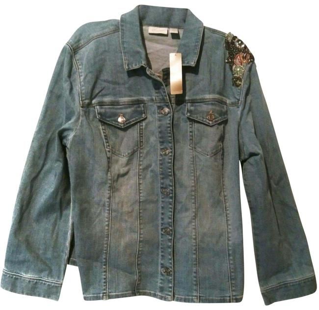 Item - Blue Embroidered Embellished Beaded Jean 1x Jacket Size 20 (Plus 1x)