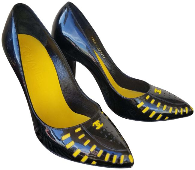 Item - Black and Yellow Rare Vintage Patent 7 Pumps Size EU 37 (Approx. US 7) Narrow (Aa, N)
