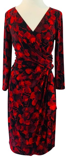 Item - Red Black Floral Watercolor Ruched Sheath Work/Office Dress Size 8 (M)