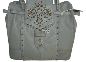 Isabella Fiore Leather Tote Purse Satchel in Gray Grey Sage