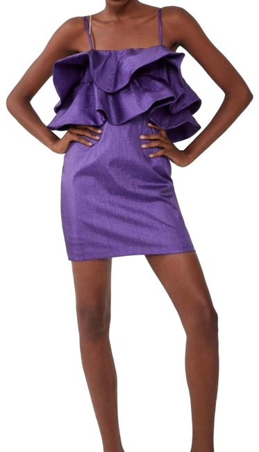 Item - Purple Ruffled Metallic Thread Short Night Out Dress Size 4 (S)