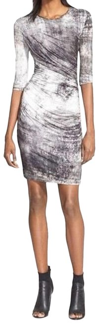 Helmut Lang Grey & White Jersey Nova Marble Short Night Out Dress Size 4 (S) Helmut Lang Grey & White Jersey Nova Marble Short Night Out Dress Size 4 (S) Image 1