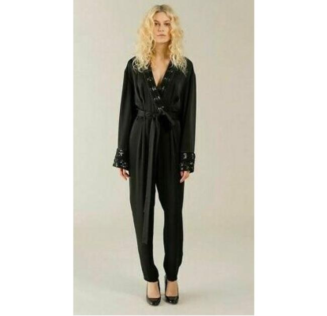 Item - Sequin Applique and Tonal Piping Adorn This Chic Wrap That Features: Long Bell Sleeves and Double Boxed Pleats Romper/Jumpsuit