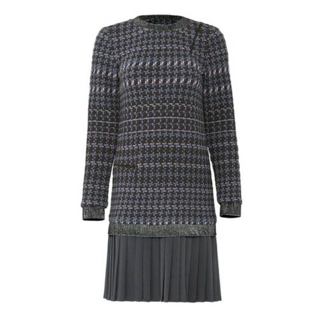 Item - Houndstooth Pleat Mid-length Work/Office Dress Size 8 (M)