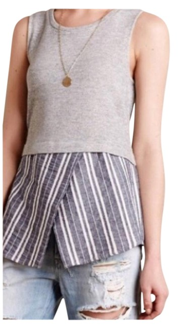 Item - Gray XS Striped Layered Color Block Tank Top/Cami Size 0 (XS)