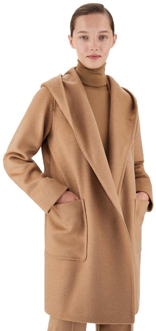 Item - Beige Rialto Wrap-over Camel Hair Hooded Coat Size 4 (S)