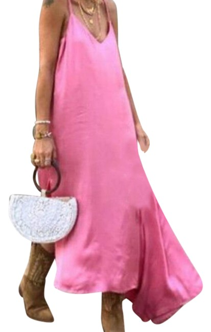 Item - Pink Asymmetrical Camisole Casual Maxi Dress Size 4 (S)