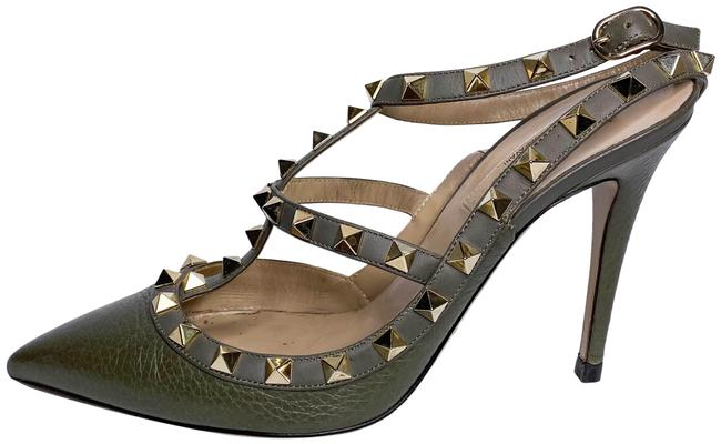 Item - Olive Green Rockstud Pumps Size EU 37 (Approx. US 7) Regular (M, B)