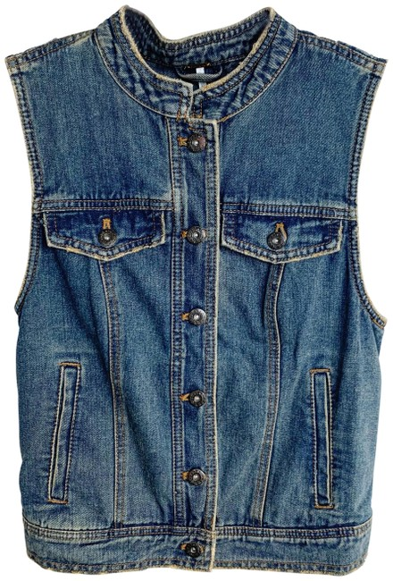 Item - Blue Lace Up Sleeveless Vest Jacket Size 2 (XS)