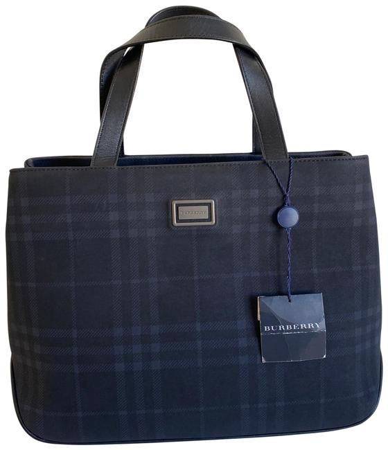 Item - Check Organizer Navy Leather Tote