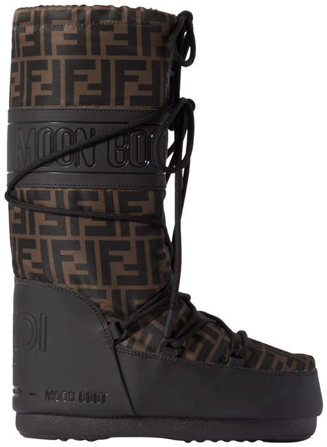 Item - Black/Brown Ff Monogram Shell and Rubber The Moon Snow Ski Eu39-41 Boots/Booties Size EU 39 (Approx. US 9) Wide (C, D)