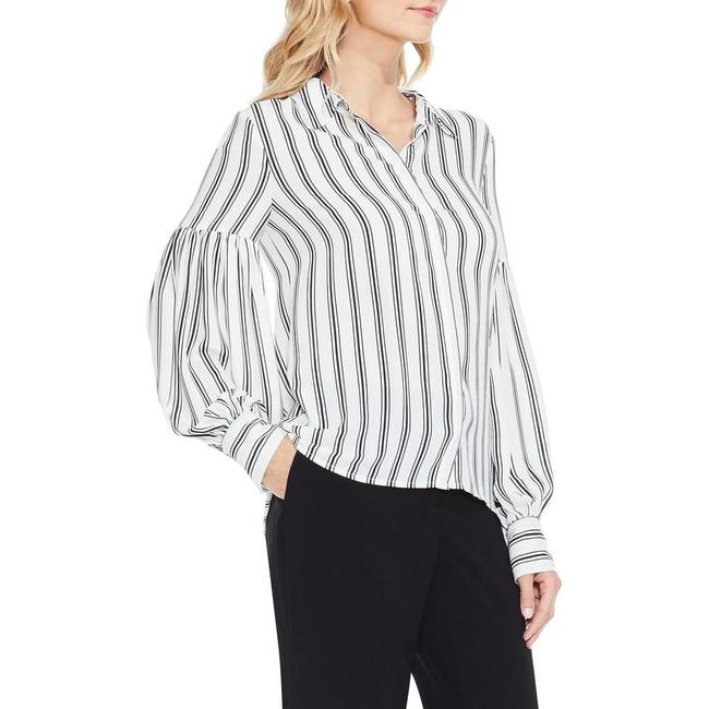Item - Black and White Stripe Puff Sleeve Blouse Size 14 (L)