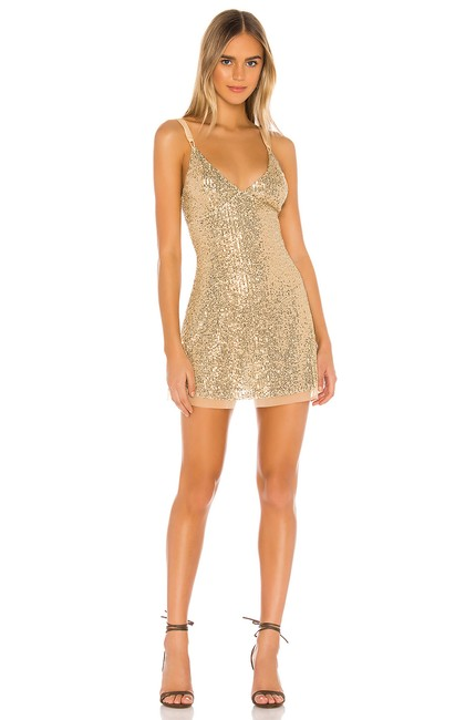 Item - Gold Mini In Golden Glow Combo Short Night Out Dress Size 8 (M)