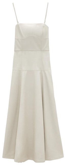 Item - Beige XS Faux Leather Straight Neck Midi New Long Casual Maxi Dress Size 2 (XS)