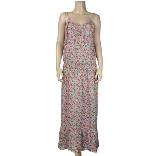 Item - Blue Gray Floral Print Boho Style Ruffle Flower Long Casual Maxi Dress Size 6 (S)