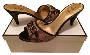 Coach Slipper Heel Gold Khaki Patent Leather Metallic Salon Mules Signature Fabric Stuart Wietzman Michael Kors Kate Spade Brown Sandals