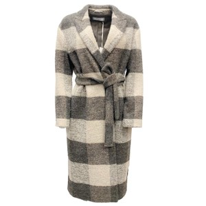 Item - Charcoal and Cream Plaid Belted Coat