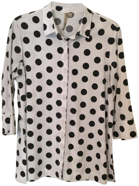 Item - Black and White Polka Dot A-line. Blouse Size 4 (S)