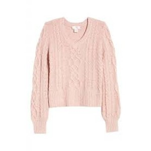 Item - Sequin Cable Knit Puff Sleeve Pink Sweater