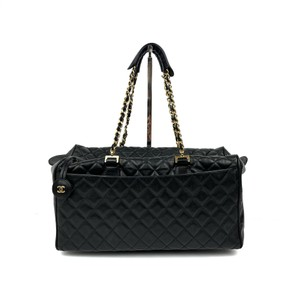 Item - Bowling Bag Vintage Quilted Black Calfskin Leather Tote