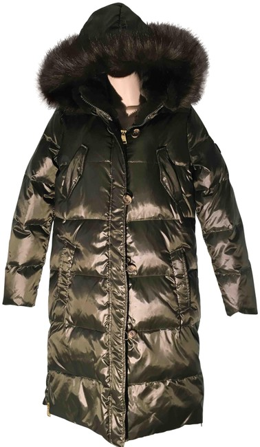 Item - Olive Green New Long Down Coat/Puffer Jacket Hooded Faux Furxs Coat Size 2 (XS)