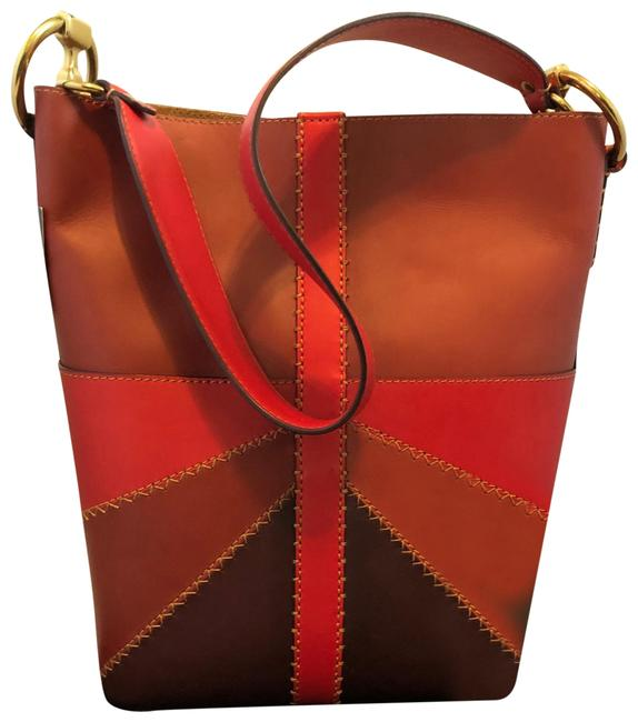 Item - Bucket Ilana Color Block Red Clay Multi Leather Hobo Bag
