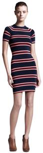 Item - Blue L Thompson Striped Navy Ribbed Ss Bodycon Small  Casual Dress