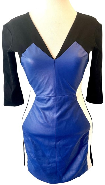 Item - Black with Blue & White Leather Mid-length Night Out Dress Size Petite 2 (XS)