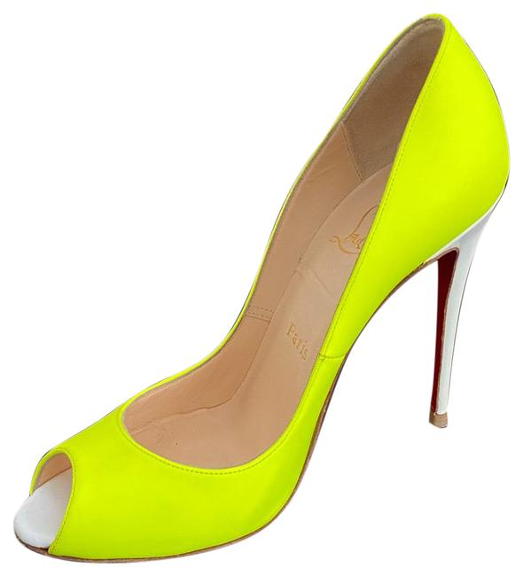 Item - Neon Yellow/White Leather Flo Peep Pumps Size EU 36.5 (Approx. US 6.5) Regular (M, B)